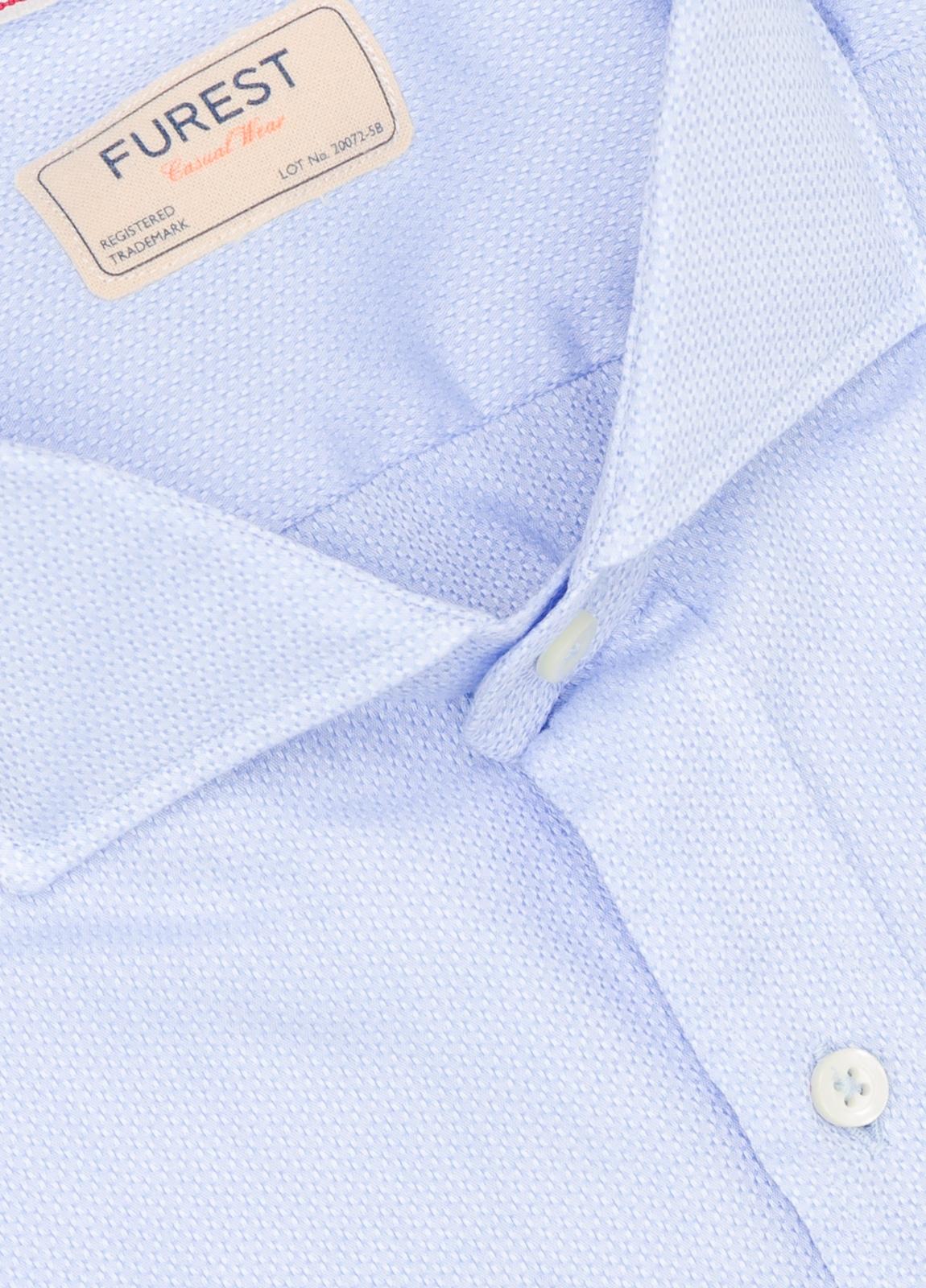 Camisa Casual Wear SLIM FIT Modelo CAPRI diseño liso micro grabado color celeste. 100% Algodón. - Ítem1