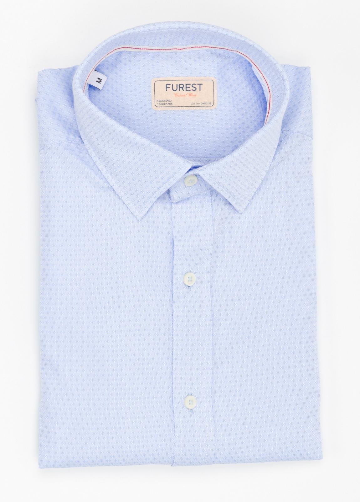 Camisa Casual Wear SLIM FIT Modelo PORTO micro grabado color celeste. 100% Algodón.