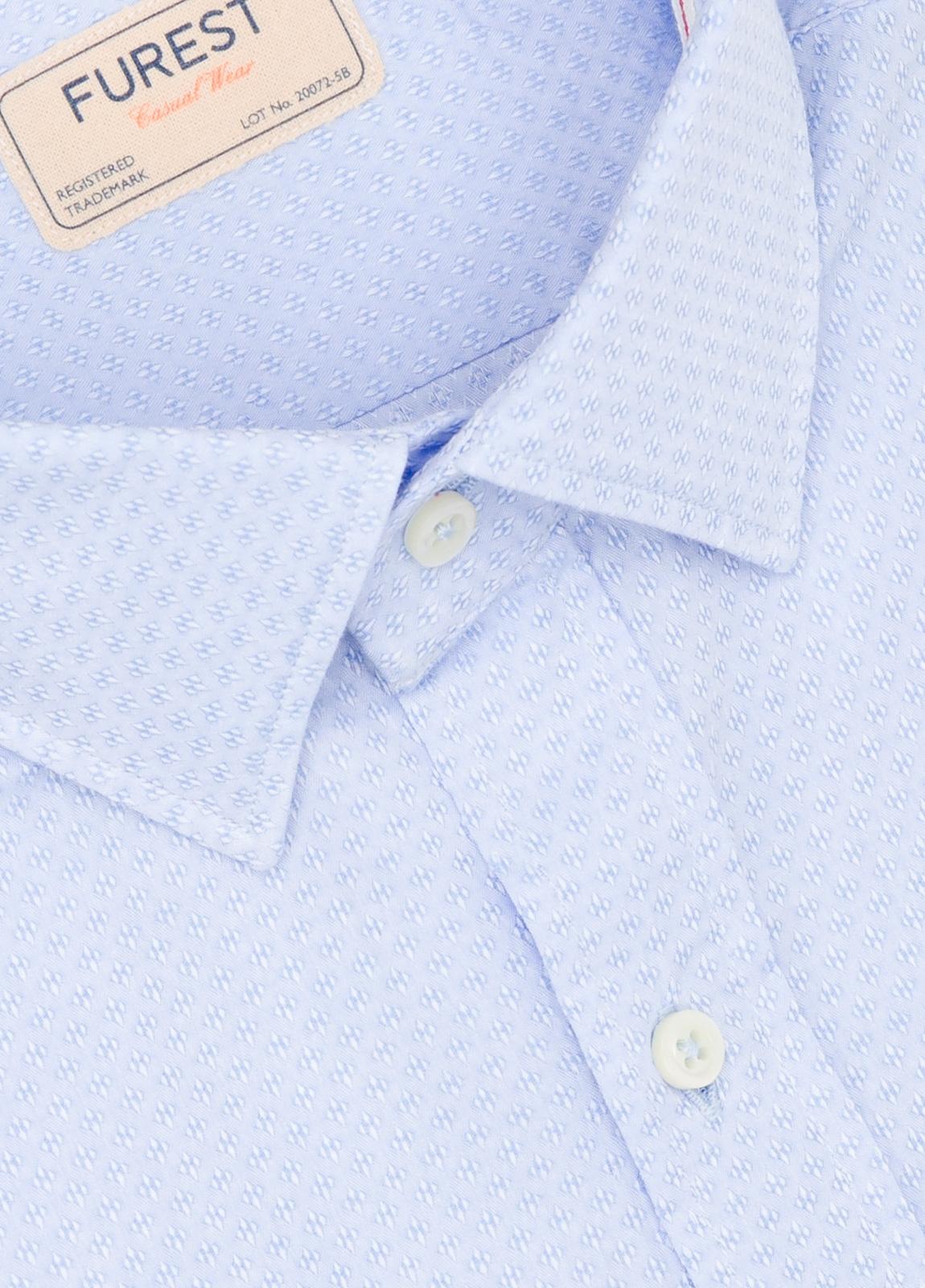 Camisa Casual Wear SLIM FIT Modelo PORTO micro grabado color celeste. 100% Algodón. - Ítem1