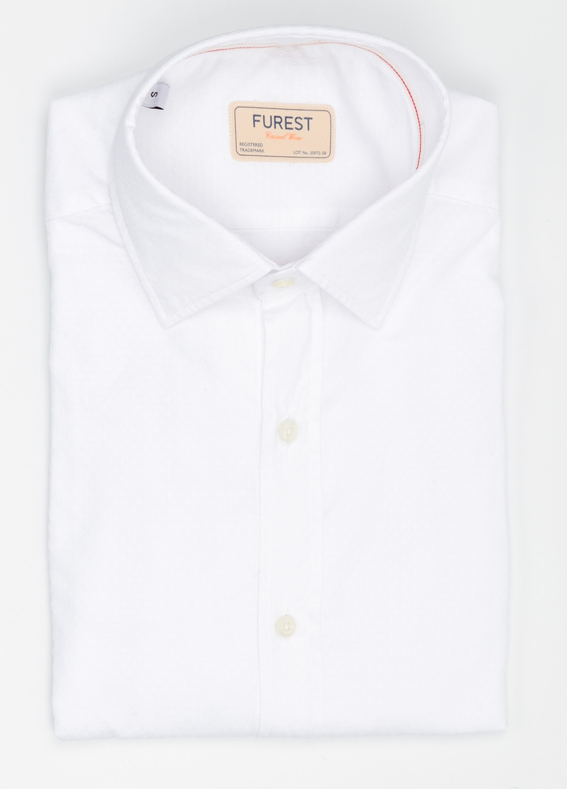 Camisa Casual Wear SLIM FIT Modelo PORTO micro grabado color blanco. 100% Algodón.