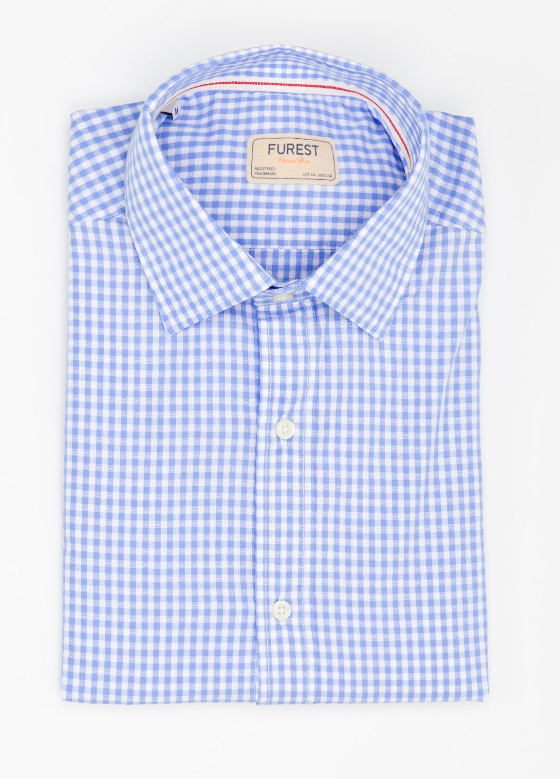 Camisa Casual Wear SLIM FIT Modelo PORTO diseño cuadritos color celeste. 100% Algodón.