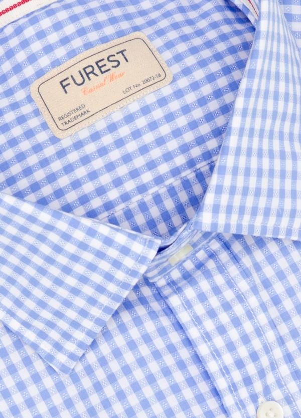 Camisa Casual Wear SLIM FIT Modelo PORTO diseño cuadritos color celeste. 100% Algodón. - Ítem1
