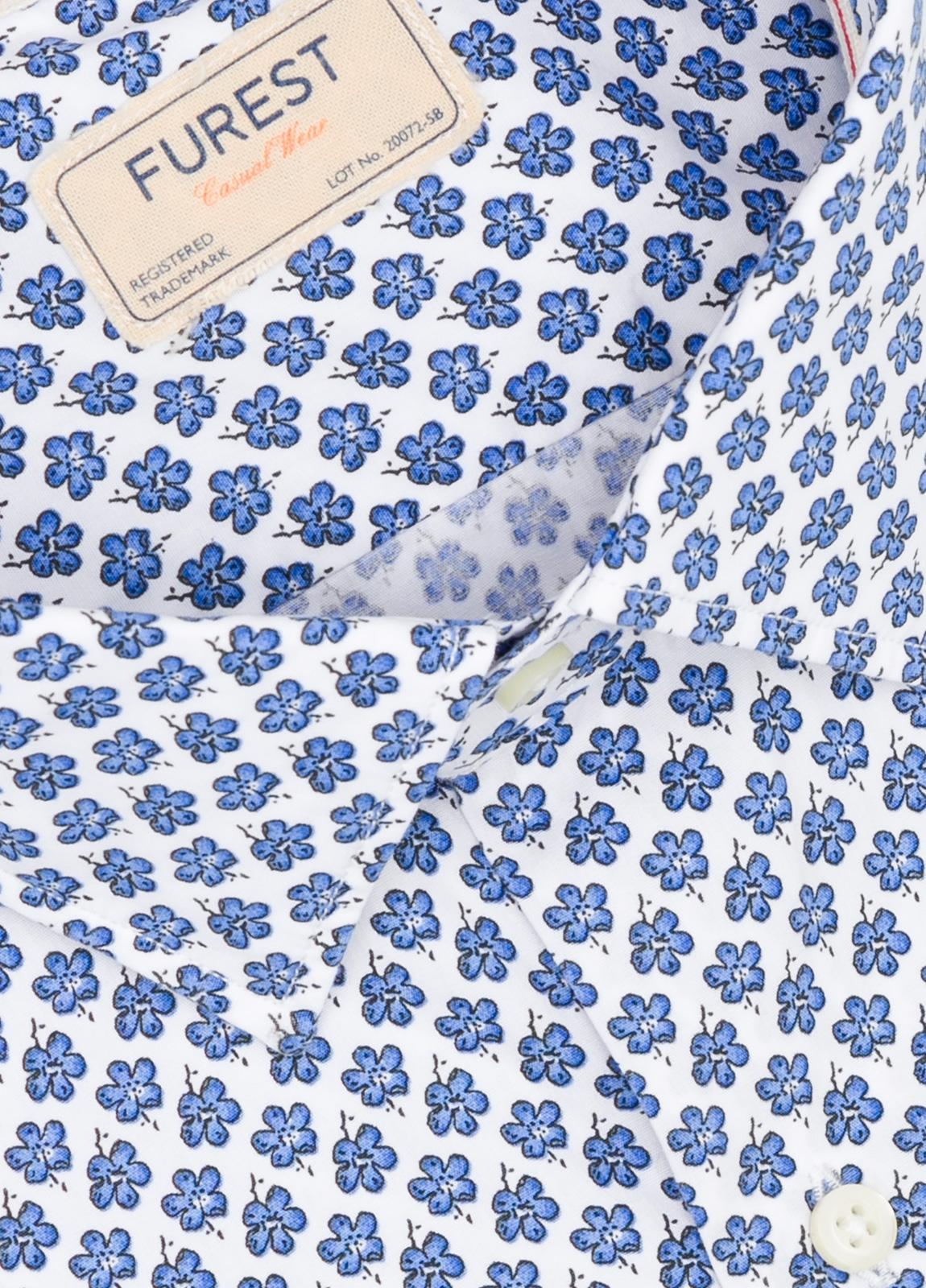 Camisa Casual Wear SLIM FIT Modelo PORTO estampado floral color azul. 100% Algodón. - Ítem1