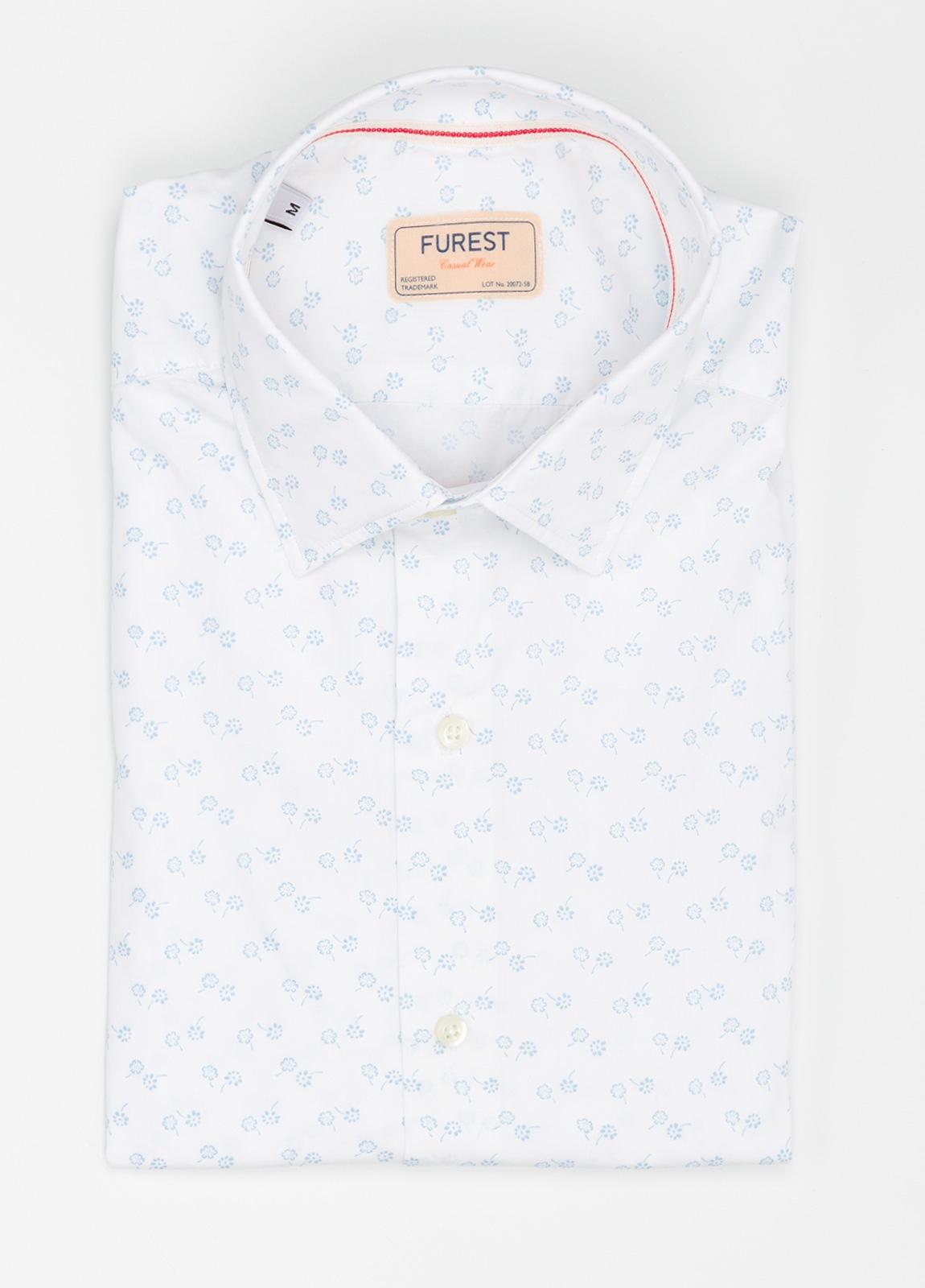 Camisa Casual Wear SLIM FIT Modelo PORTO estampado floral color blanco. 100% Algodón.