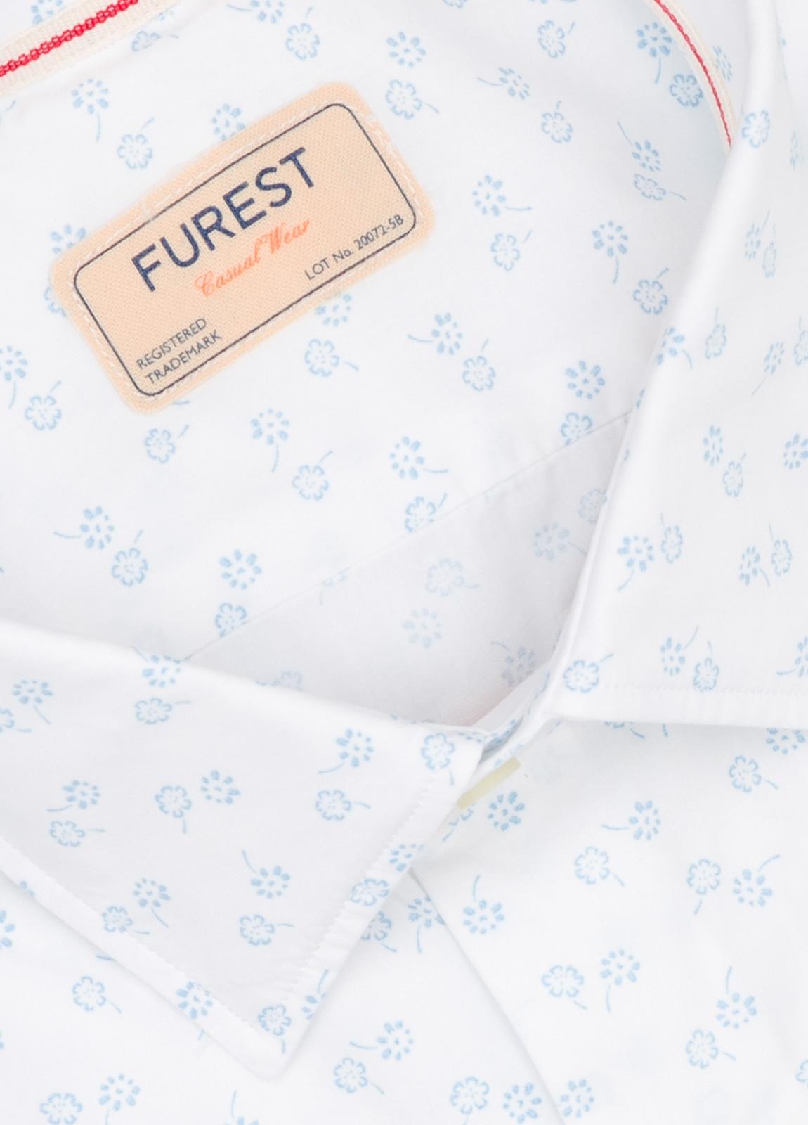 Camisa Casual Wear SLIM FIT Modelo PORTO estampado floral color blanco. 100% Algodón. - Ítem1