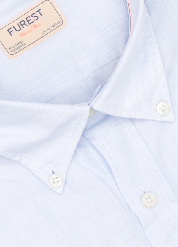 Camisa Casual Wear SLIM FIT Modelo BUTTON DOWN micro textura color celeste, 100% Algodón. - Ítem1