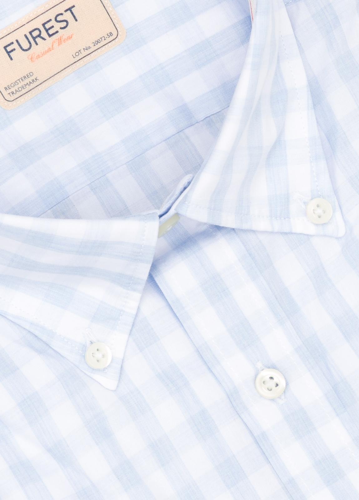 Camisa Casual Wear SLIM FIT Modelo BUTTON DOWN dibujo cuadros color celeste, 100% Algodón. - Ítem1