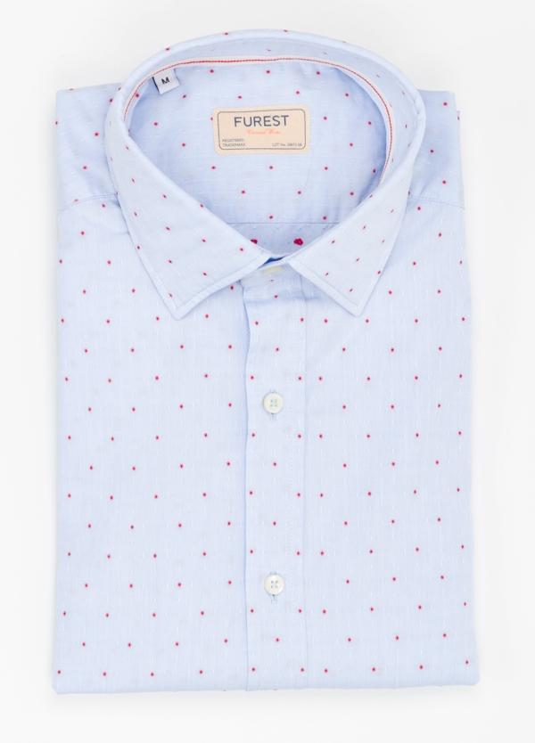 Camisa Casual Wear SLIM FIT Modelo PORTO micro dibujo color celeste. 100% Algodón.