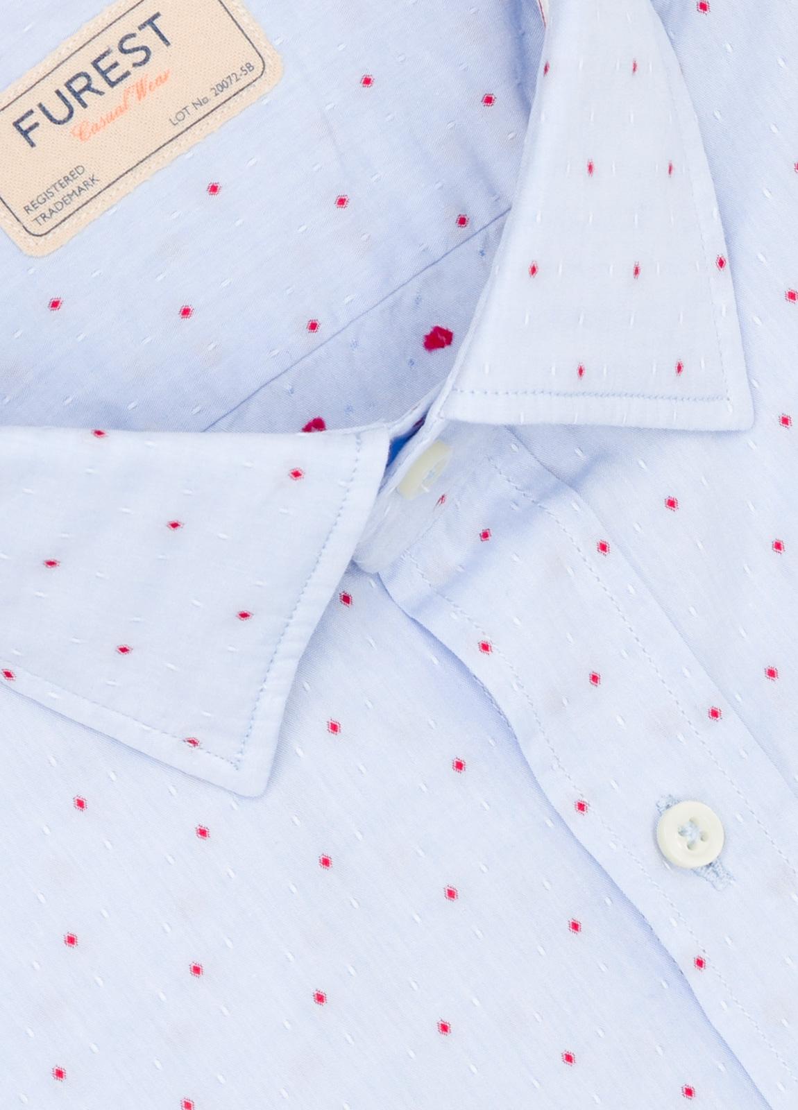Camisa Casual Wear SLIM FIT Modelo PORTO micro dibujo color celeste. 100% Algodón. - Ítem1