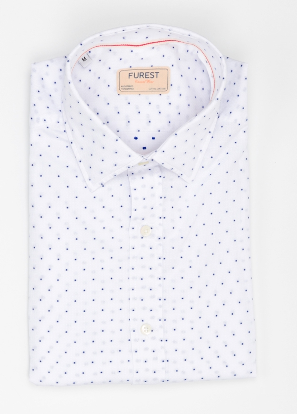 Camisa Casual Wear SLIM FIT Modelo PORTO micro dibujo color blanco. 100% Algodón.
