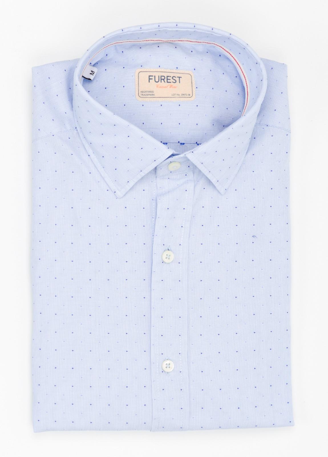 Camisa Casual Wear SLIM FIT Modelo PORTO micro dibujo celeste. 100% Algodón.