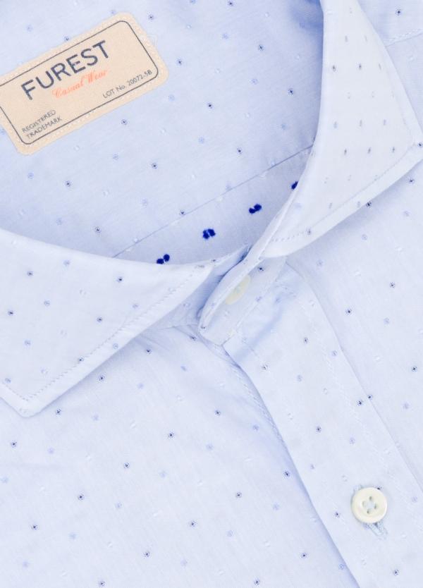 Camisa Casual Wear SLIM FIT Modelo CAPRI diseño liso micro dibujo color celeste. 100% Algodón. - Ítem1