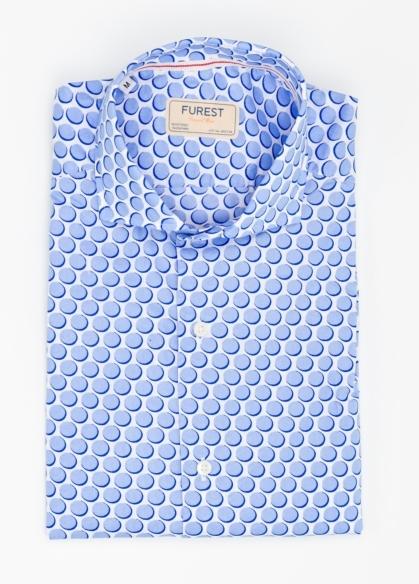 Camisa Casual Wear SLIM FIT Modelo CAPRI maxi dibujo lunar color azul. 100% Algodón. - Ítem2
