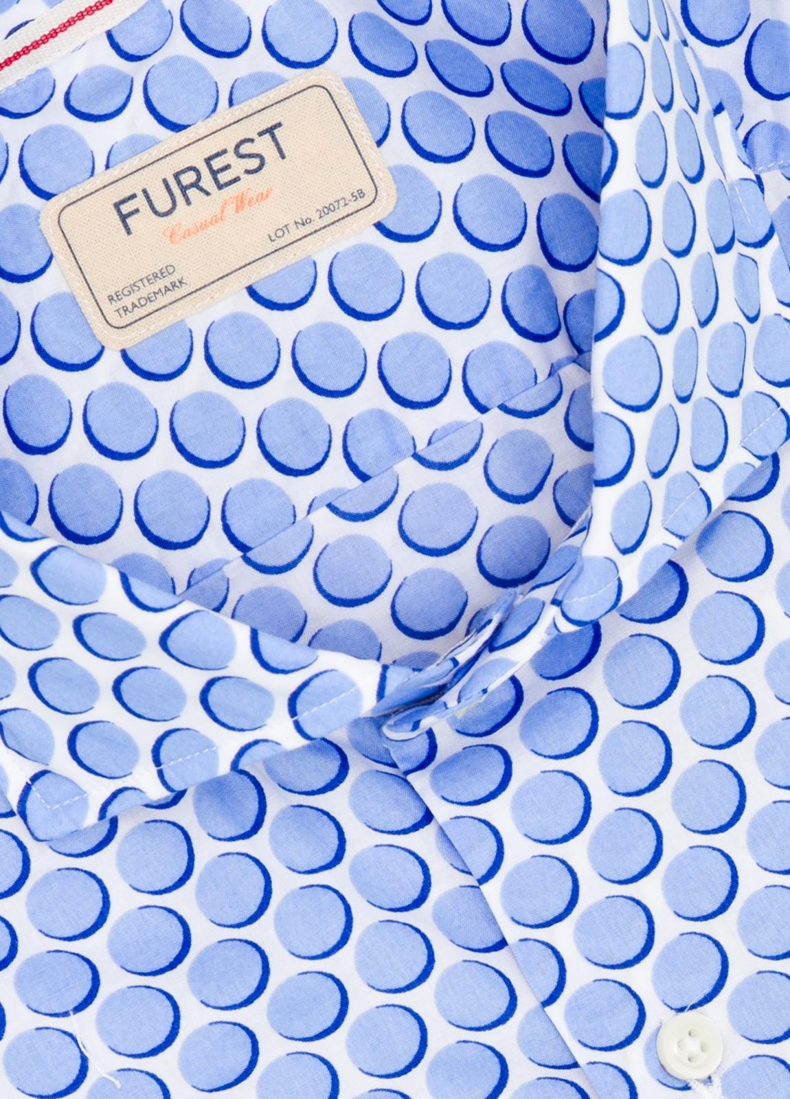Camisa Casual Wear SLIM FIT Modelo CAPRI maxi dibujo lunar color azul. 100% Algodón. - Ítem1