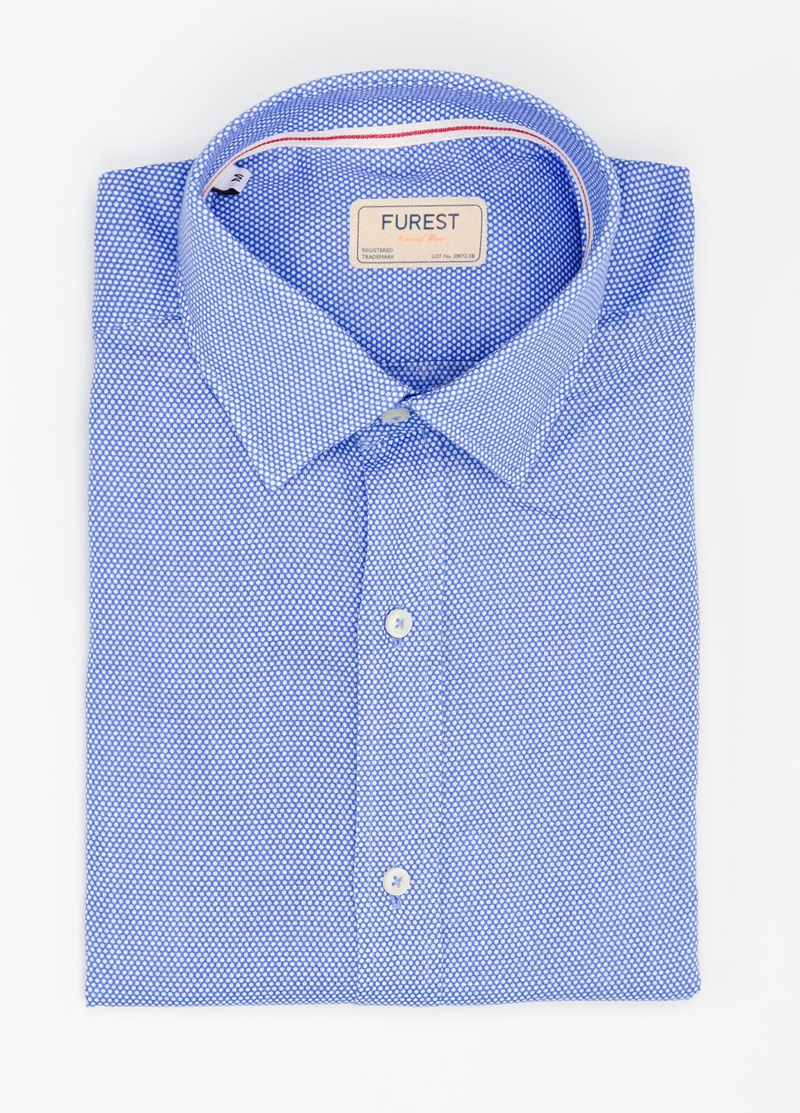 Camisa Casual Wear SLIM FIT Modelo CAPRI diseño topitos color azul. 100% Algodón.