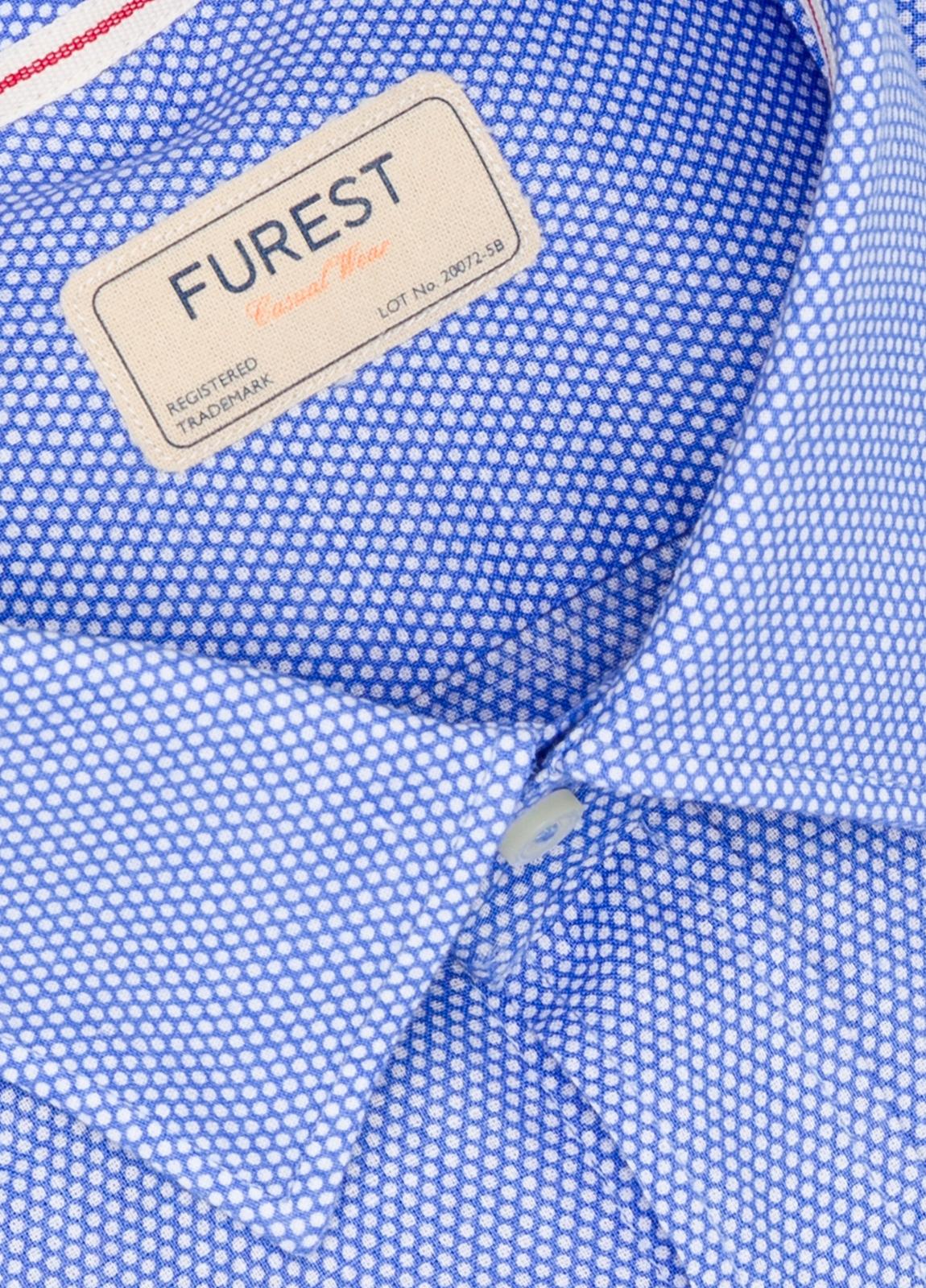 Camisa Casual Wear SLIM FIT Modelo CAPRI diseño topitos color azul. 100% Algodón. - Ítem1