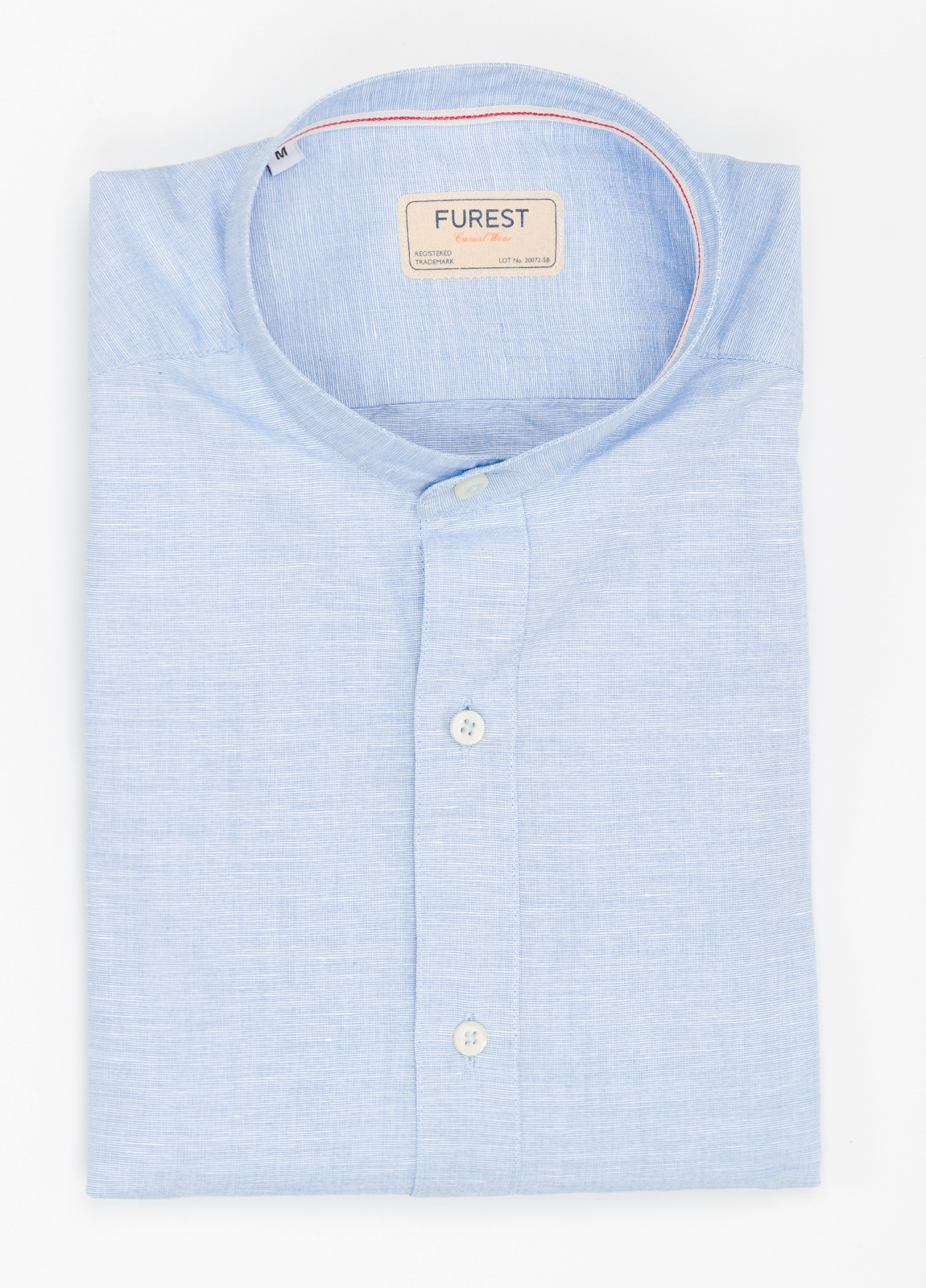 Camisa Casual Wear SLIM FIT Modelo MAO diseño liso micro textura color celeste. 100% Algodón.
