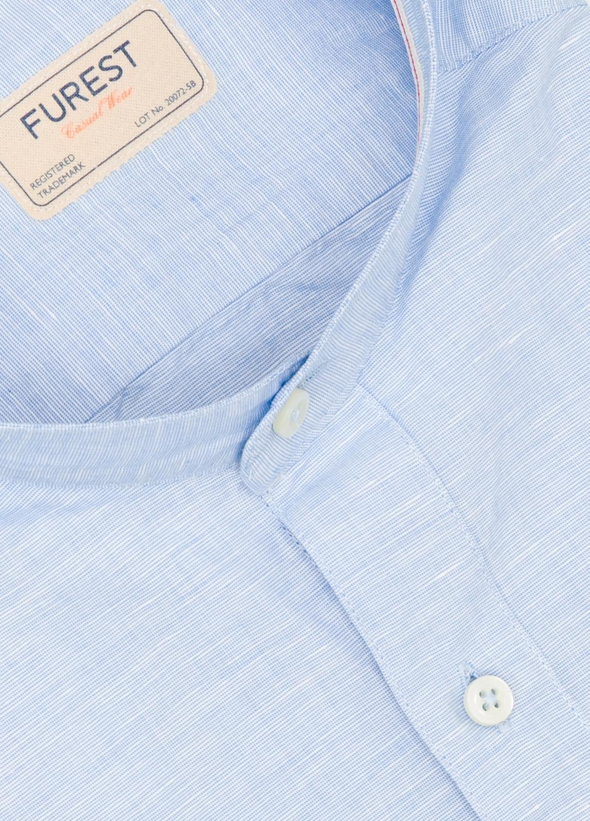 Camisa Casual Wear SLIM FIT Modelo MAO diseño liso micro textura color celeste. 100% Algodón. - Ítem1