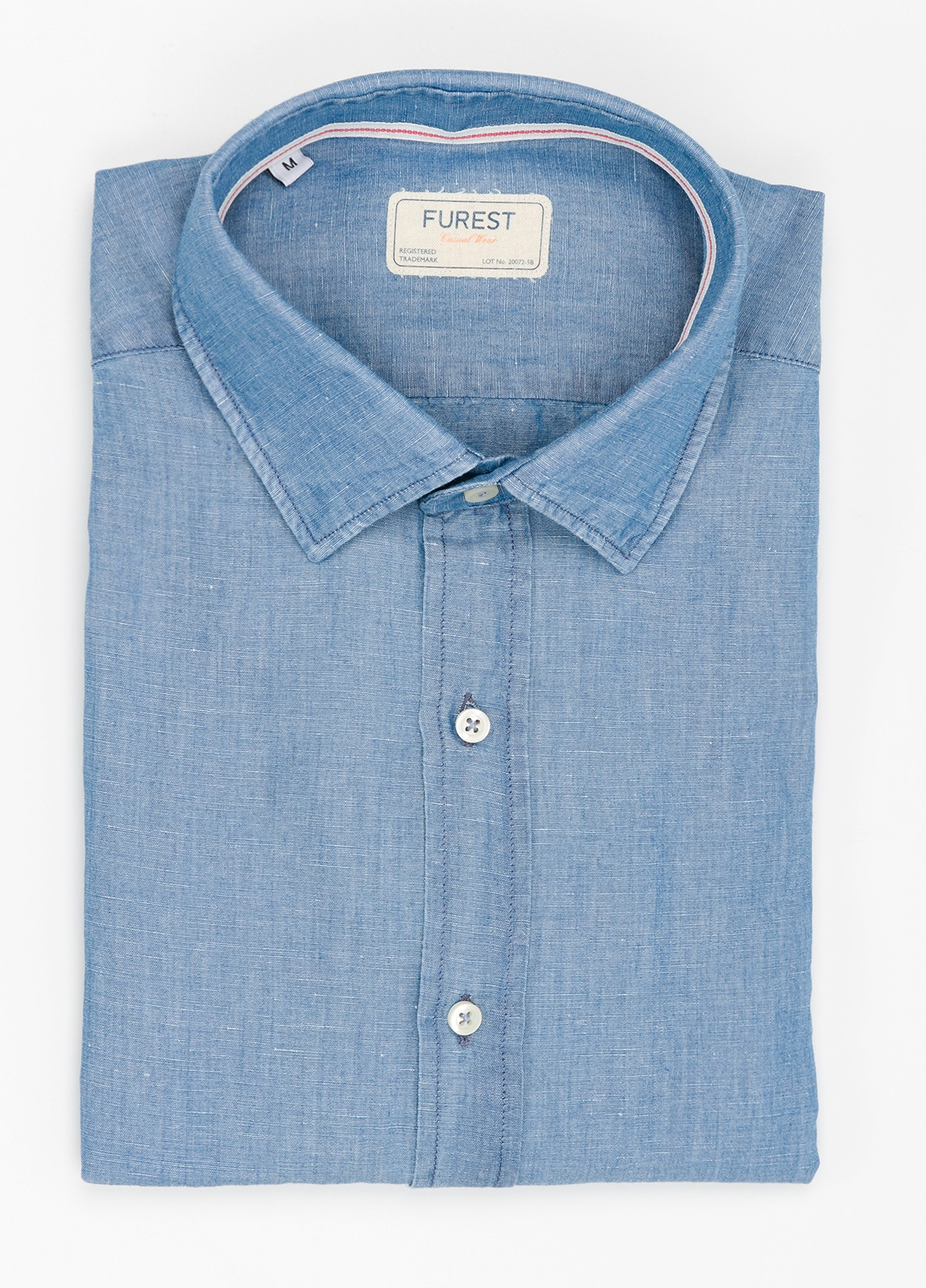 Camisa Casual Wear SLIM FIT Modelo PORTO color azul denim. 100% Algodón.