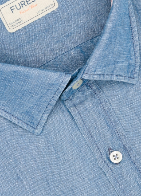 Camisa Casual Wear SLIM FIT Modelo PORTO color azul denim. 100% Algodón. - Ítem1