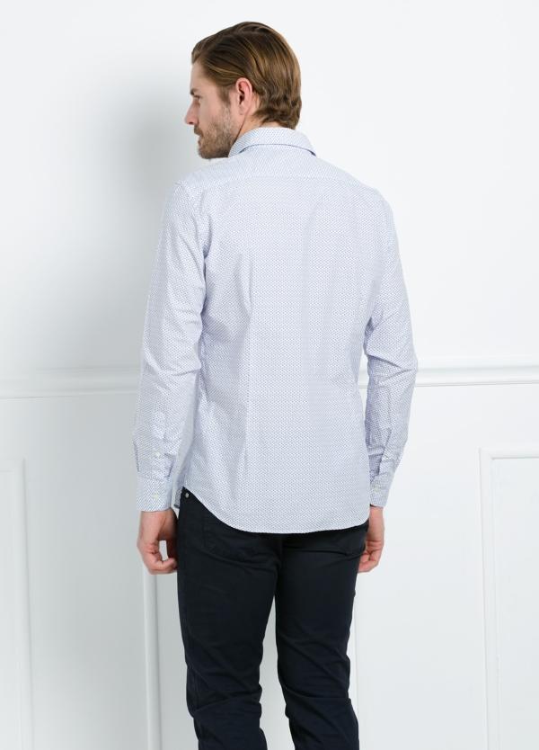 Camisa Casual Wear SLIM FIT Modelo PORTO estampado color azul. 100% Algodón. - Ítem3