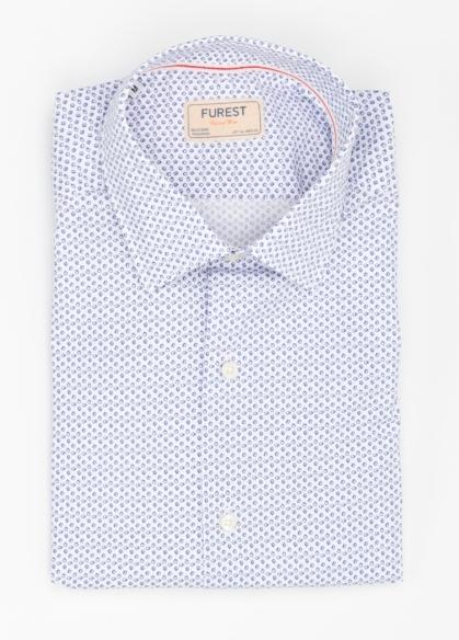 Camisa Casual Wear SLIM FIT Modelo PORTO estampado color azul. 100% Algodón. - Ítem2