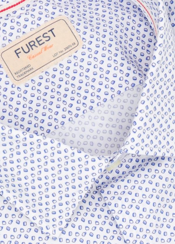 Camisa Casual Wear SLIM FIT Modelo PORTO estampado color azul. 100% Algodón. - Ítem1