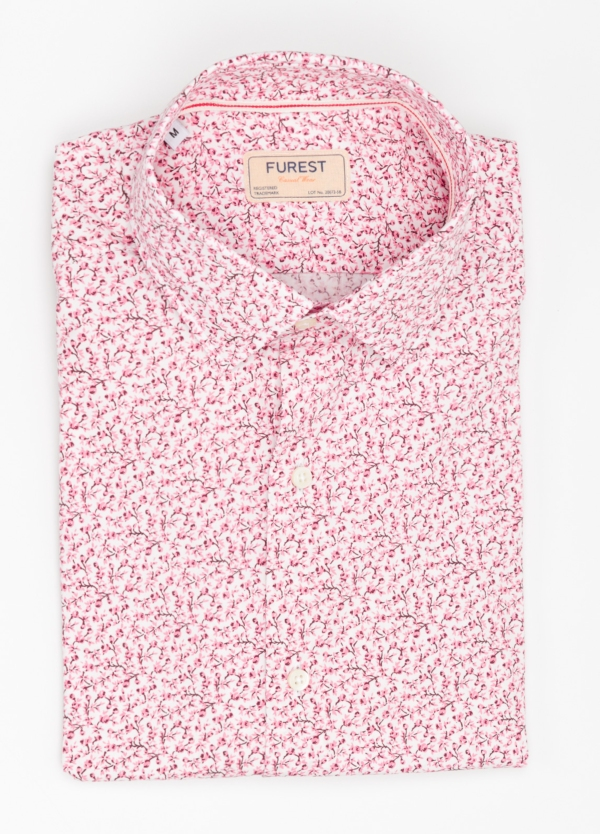 Camisa Casual Wear SLIM FIT Modelo PORTO estampado floral color rosa. 100% Algodón.