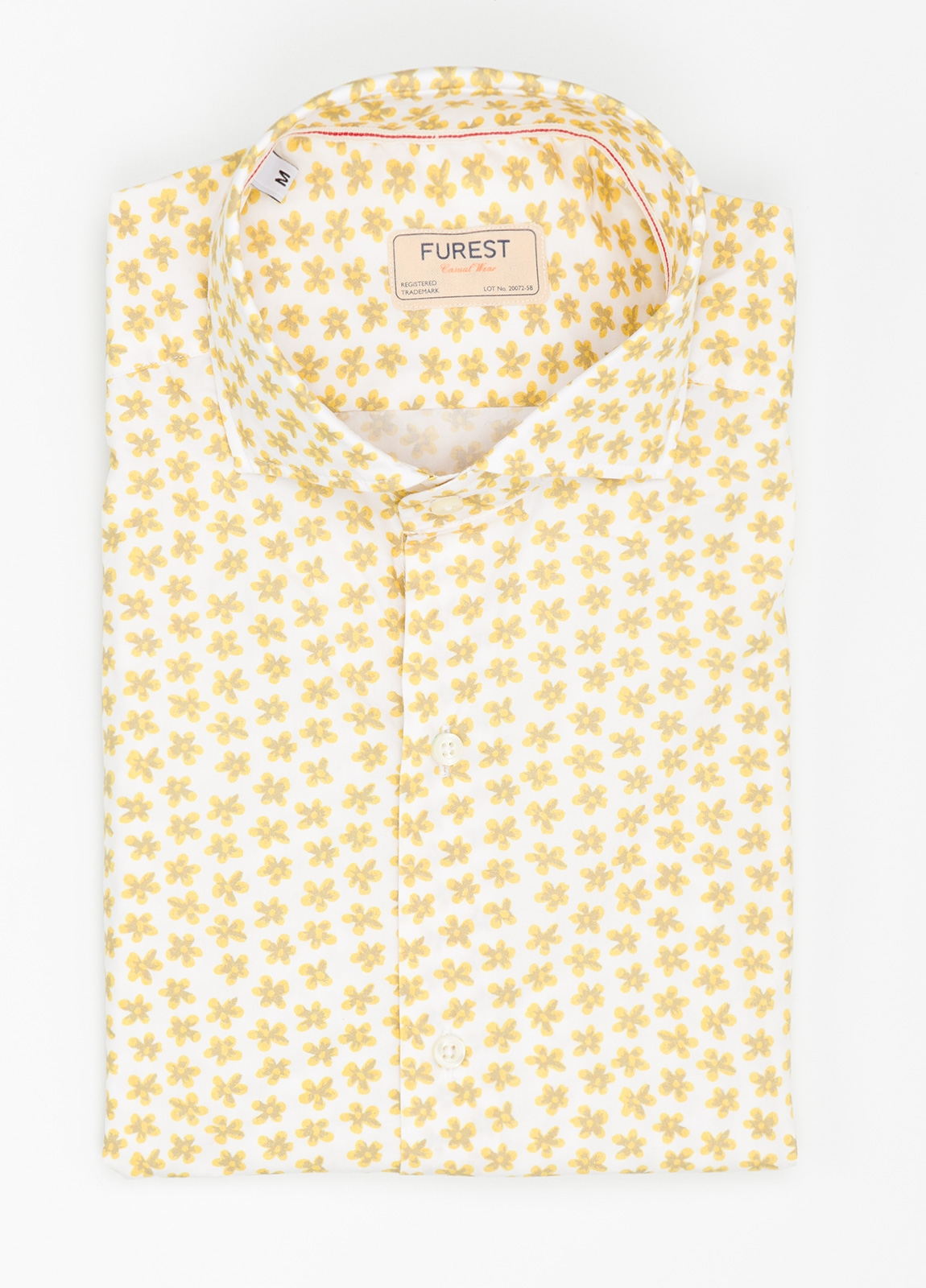 Camisa Casual Wear SLIM FIT Modelo CAPRI estampado floral color amarillo. 100% Algodón.