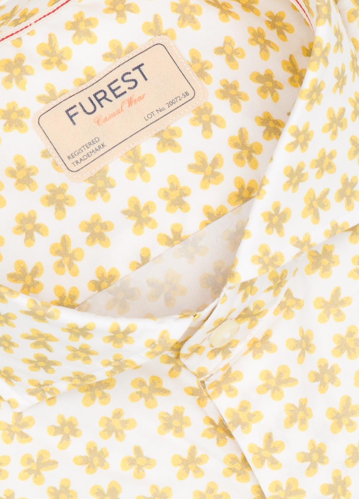 Camisa Casual Wear SLIM FIT Modelo CAPRI estampado floral color amarillo. 100% Algodón. - Ítem1