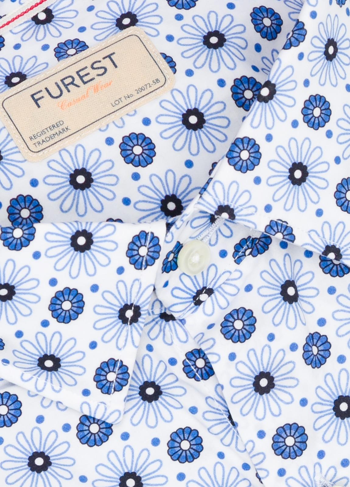 Camisa Casual Wear SLIM FIT Modelo PORTO estampado floral color azul. 100% Algodón. - Ítem1