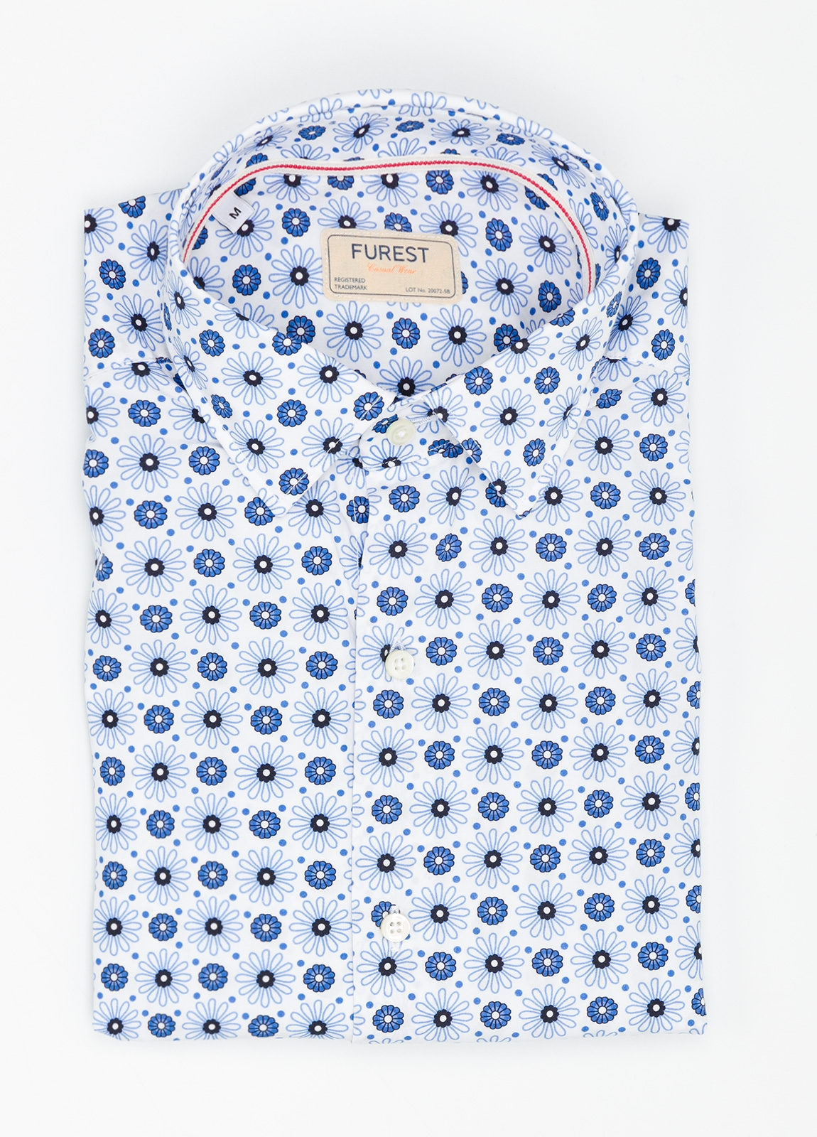 Camisa Casual Wear SLIM FIT Modelo PORTO estampado floral color azul. 100% Algodón.