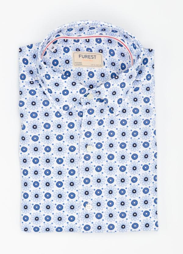 Camisa Casual Wear SLIM FIT Modelo PORTO estampado floral color azul. 100% Algodón.