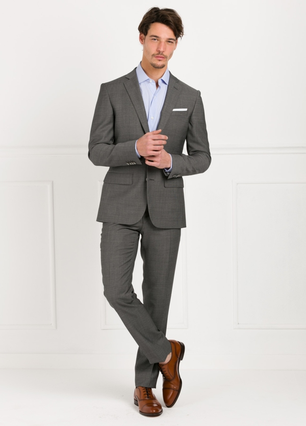 Traje liso SLIM FIT, tejido MARZOTTO, color gris, 100% Lana Virgen.