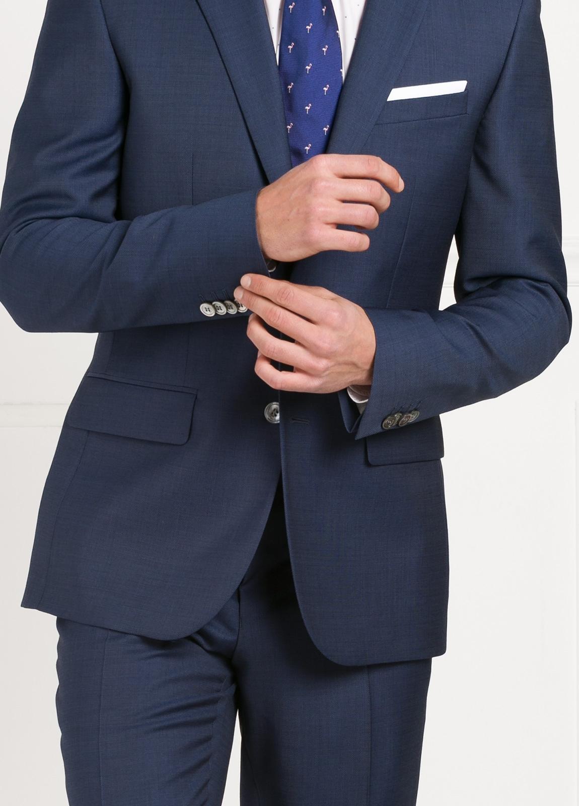 Traje liso SLIM FIT, tejido MARZOTTO, color azul, 100% Lana Virgen. - Ítem4