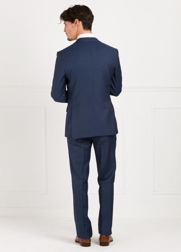 Traje liso SLIM FIT, tejido MARZOTTO, color azul, 100% Lana Virgen. - Ítem2