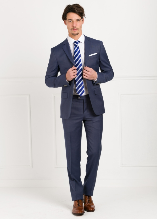 Traje liso SLIM FIT, tejido MARZOTTO, color azul, 100% Lana Virgen.