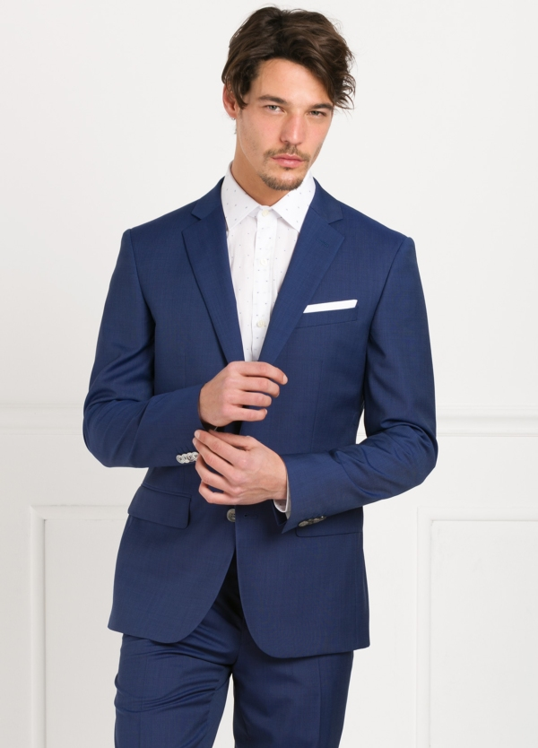 Traje liso SLIM FIT, tejido GUABELLO color azul tinta, 100% Lana Virgen.