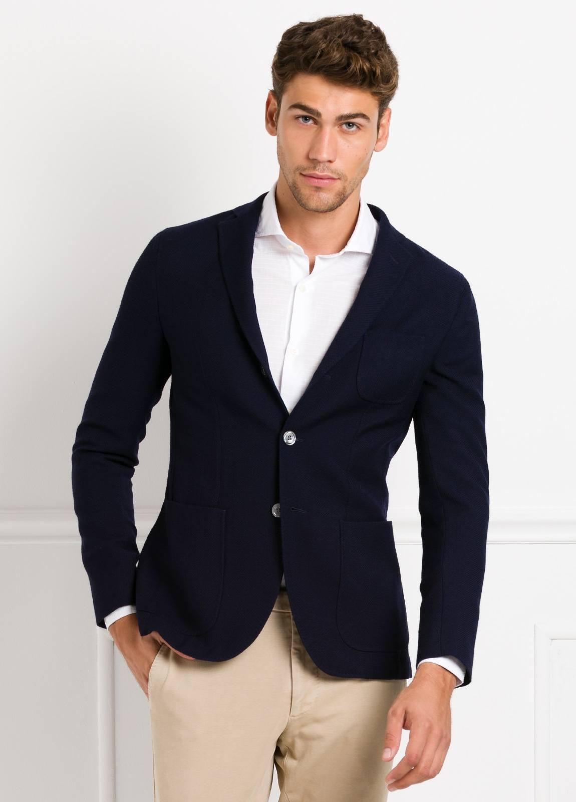 Americana SOFT JACKET Slim Fit textura color azul marino, 100% Lana fria. - Ítem3