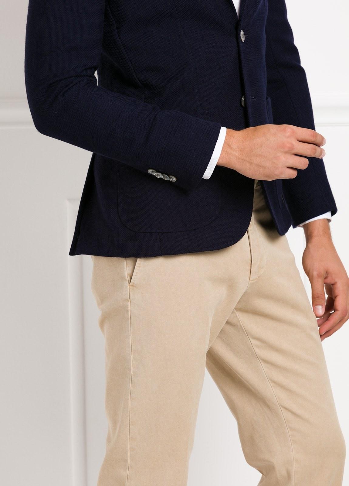 Americana SOFT JACKET Slim Fit textura color azul marino, 100% Lana fria. - Ítem1