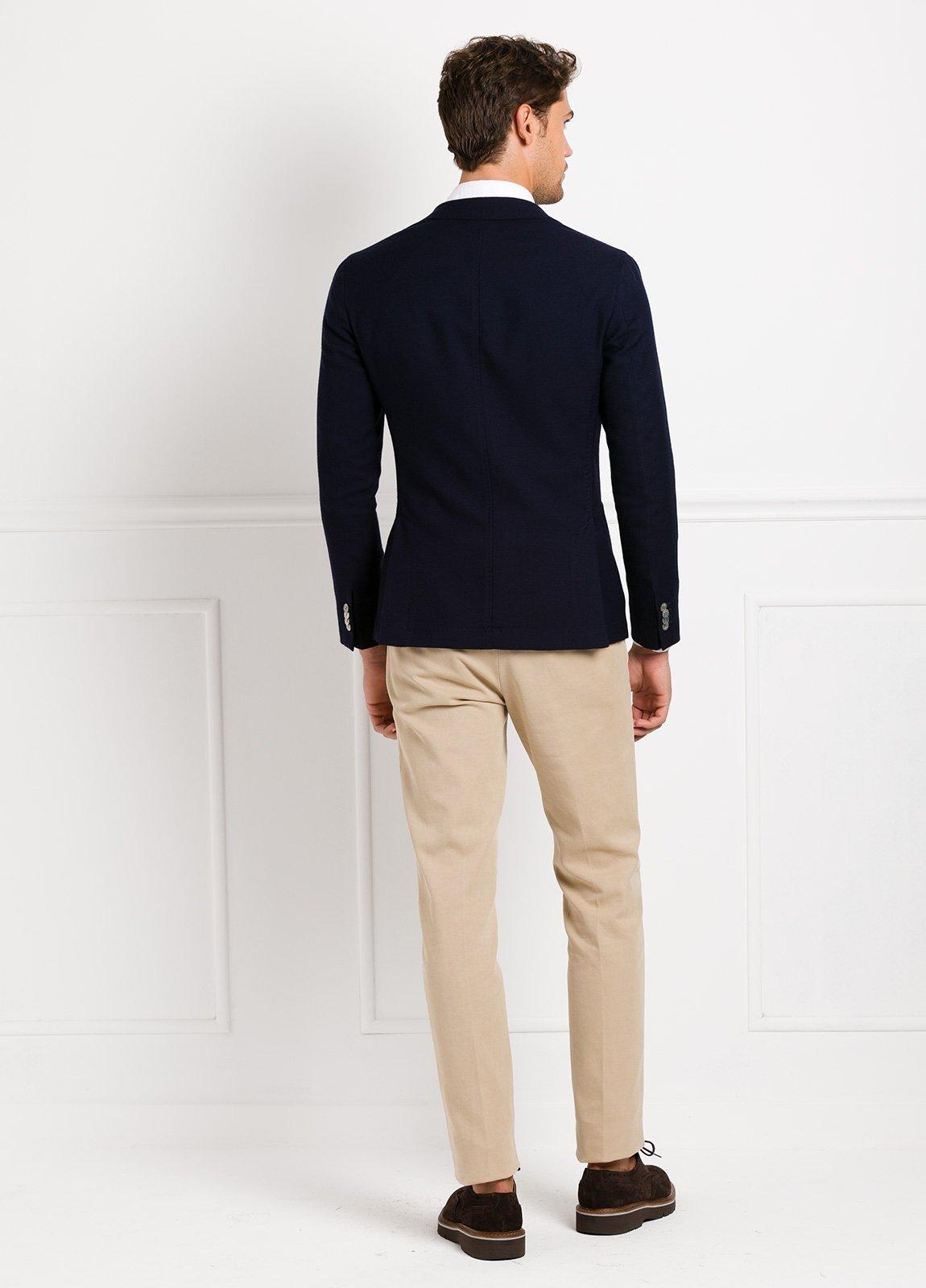 Americana SOFT JACKET Slim Fit textura color azul marino, 100% Lana fria. - Ítem4