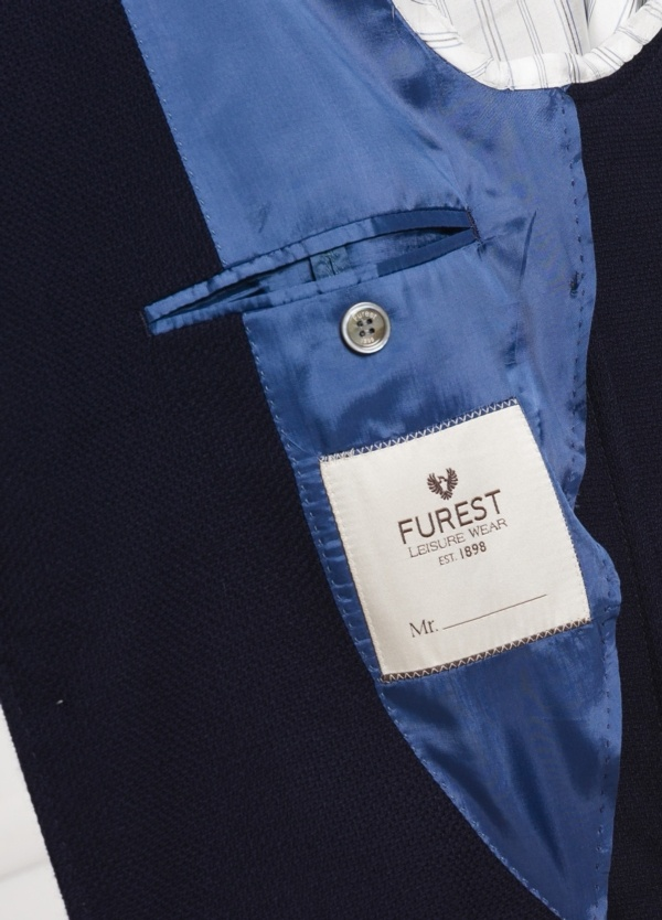 Americana SOFT JACKET Slim Fit textura color azul marino, 100% Lana fria. - Ítem2