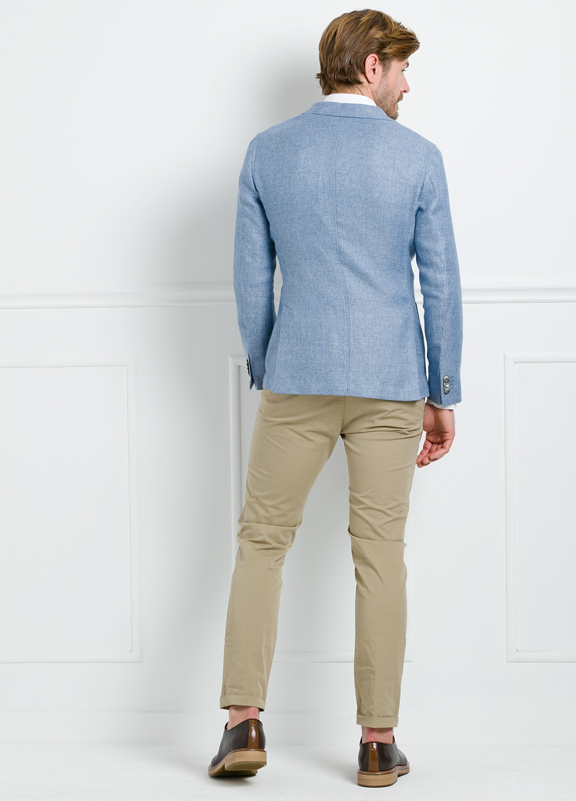Americana SOFT JACKET Slim Fit textura color celeste. 75% Cáñamo 25% lana. - Ítem2