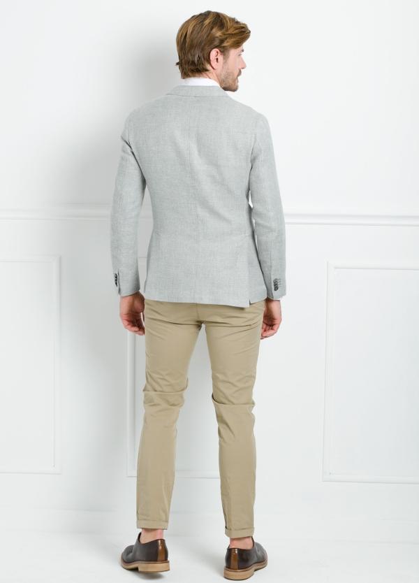 Americana SOFT JACKET Slim Fit textura color gris. 75% Cáñamo 25% lana. - Ítem4