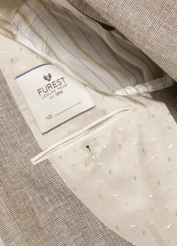 Americana SOFT JACKET Slim Fit diseño textura color beige. 60% Lino 18% Lana 12% Seda 10% Algodón. - Ítem1