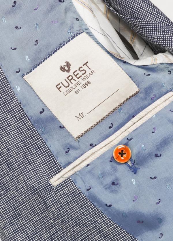 Americana SOFT JACKET Slim Fit diseño textura color azul marino. 60% Lino 18% Lana 12% Seda 10% Algodón. - Ítem2