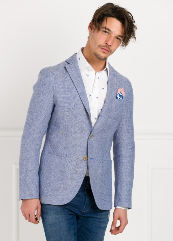 Americana SOFT JACKET Slim Fit diseño textura color azul. 60% Lino 18% Lana 12% Seda 10% Algodón. - Ítem2