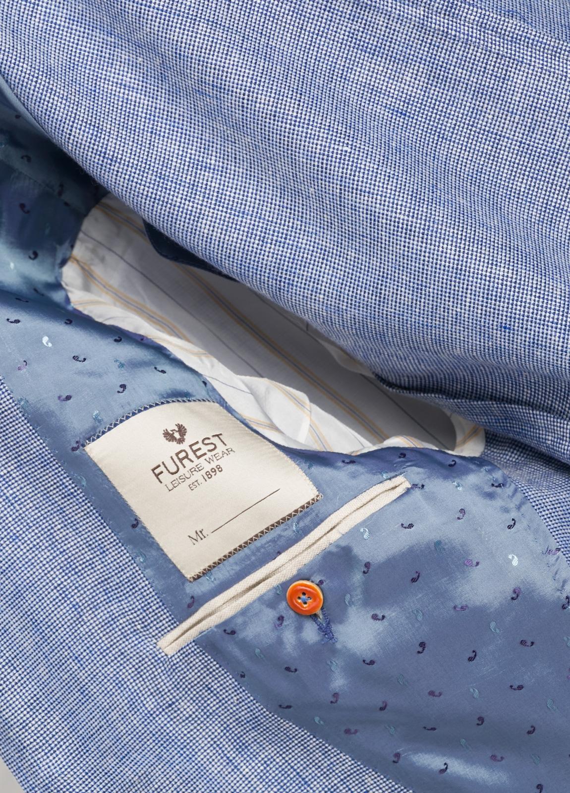 Americana SOFT JACKET Slim Fit diseño textura color azul. 60% Lino 18% Lana 12% Seda 10% Algodón. - Ítem3