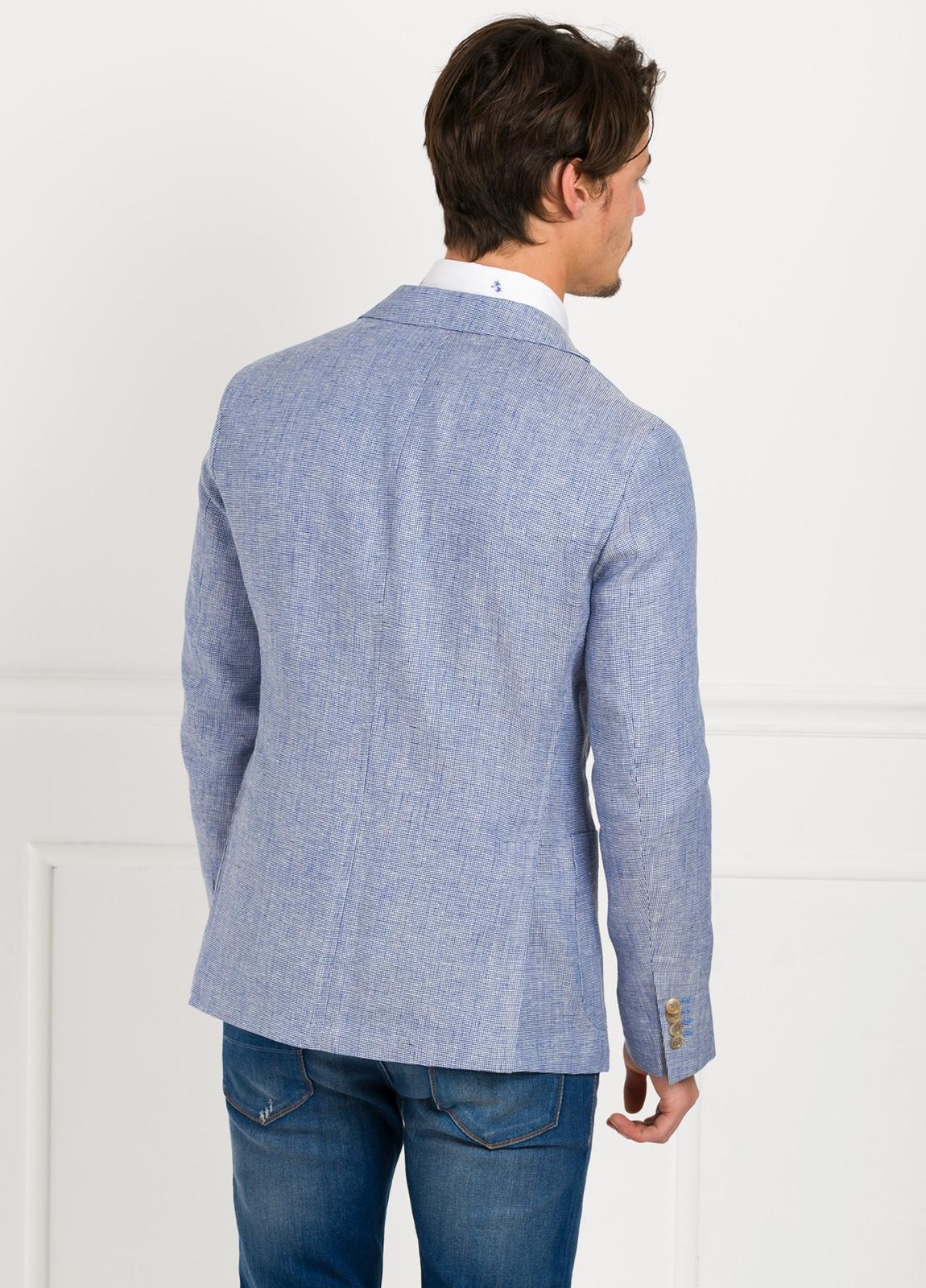 Americana SOFT JACKET Slim Fit diseño textura color azul. 60% Lino 18% Lana 12% Seda 10% Algodón. - Ítem1