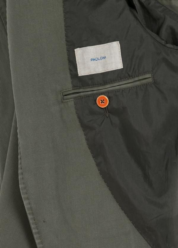 Americana 3 botones SLIM FIT color verde kaki con botones al tono. 100% Lana lavada. - Ítem1